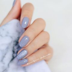Light blue nails with hygge effect