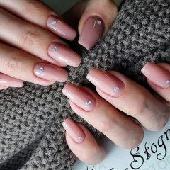 nude beige nail design with hygge effect