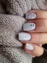 light grey hygge nails for winter holidays