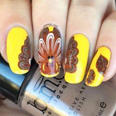 yellow-turkey-thanksgiving-nail-design