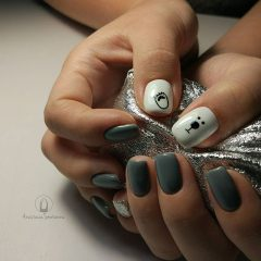 Grey and white nail design with teddy bears