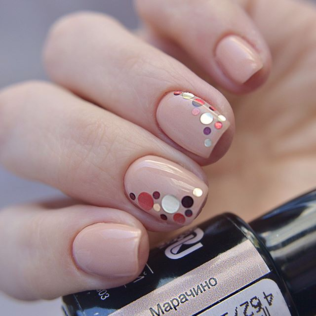 Light nude caramel nail design with
