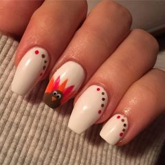 white thanksgiving nails with dots