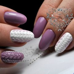 purple and white sweater nail design