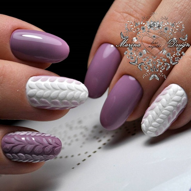 purple and white sweater nail design