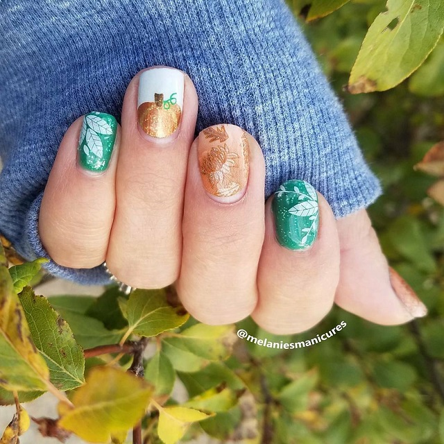 white-green-and-orange-thanksgiving-nails