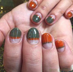 Green and orange nails for sweet November