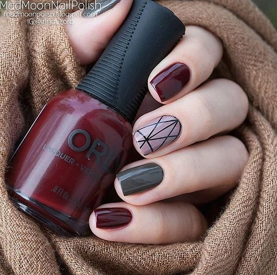 grey and marsala nail design with hygge