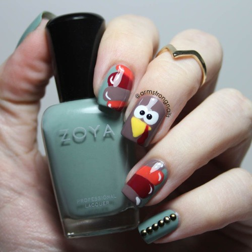 21 thanksgiving nail designs from tumblr nailspiration turkey nail design for thanksgiving prinsesfo Image collections