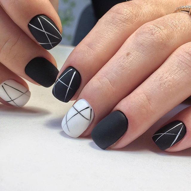 black and white geometric hygge nail art