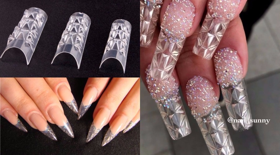 crystal tips nail design