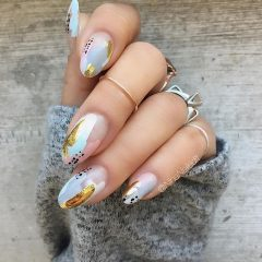 free painted grey nail design
