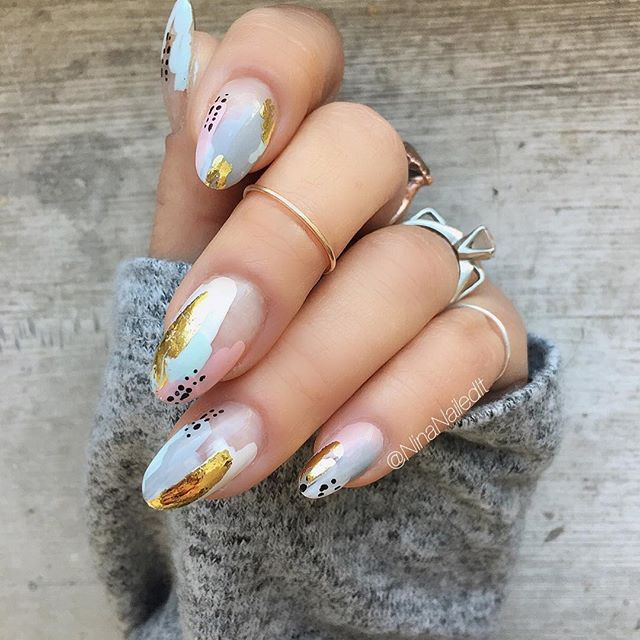 free painted grey nail design