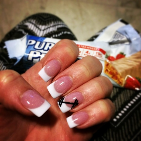 white-french-gym-nails-with-dumbbells