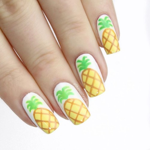 white-nail-design-with-pineapples-coachella-inspired
