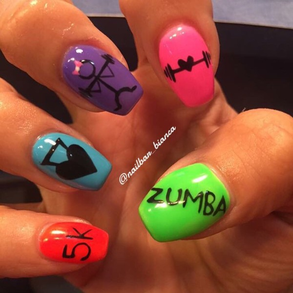 workout-nails-lifting-dumbbells-zumba
