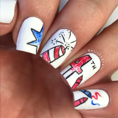 4th-of-july-firework-nail-design