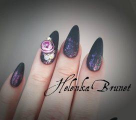 black nail design crystal ball
