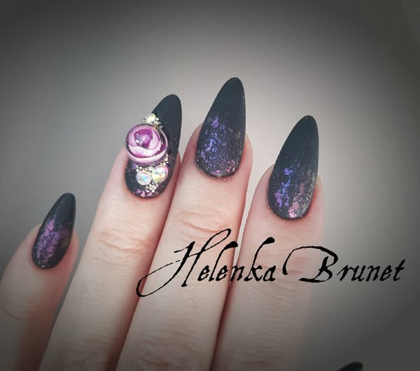 black nail design crystal ball