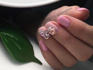 dark pink crystal ball nails