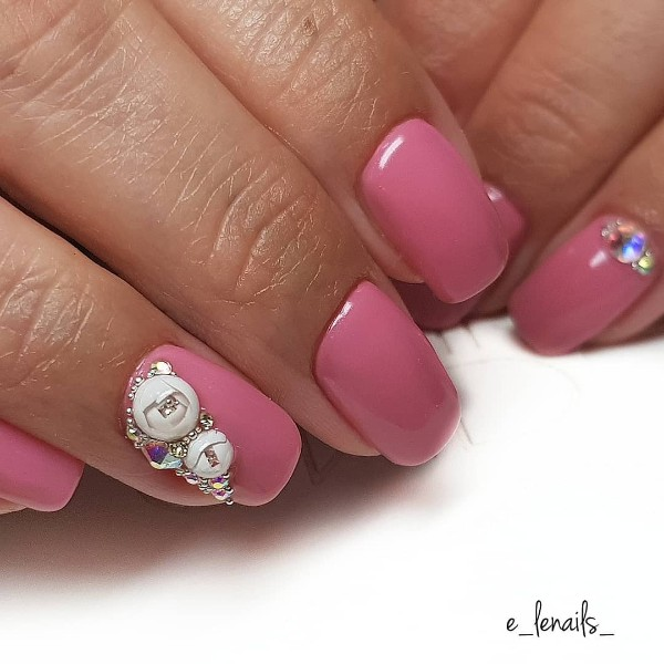 dust pink candy ball nails