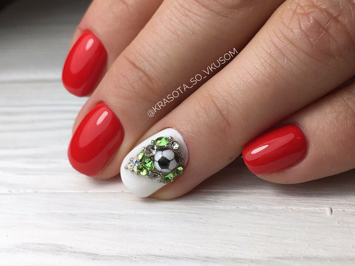 football themed 3D nail design with candy ball