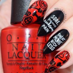 black and red sport gym nails