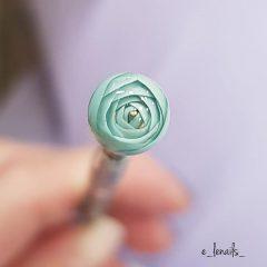 light blue flower ball nails