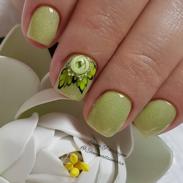 light green candy ball nails