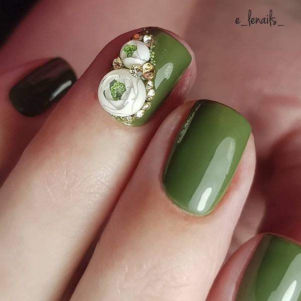 olive green candy ball nails
