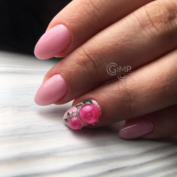 pastel pink manicure with crystal ball