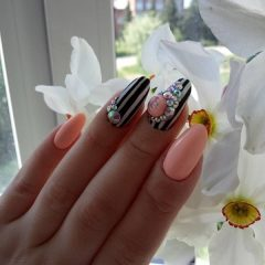 pink and black candy ball nails with stripes