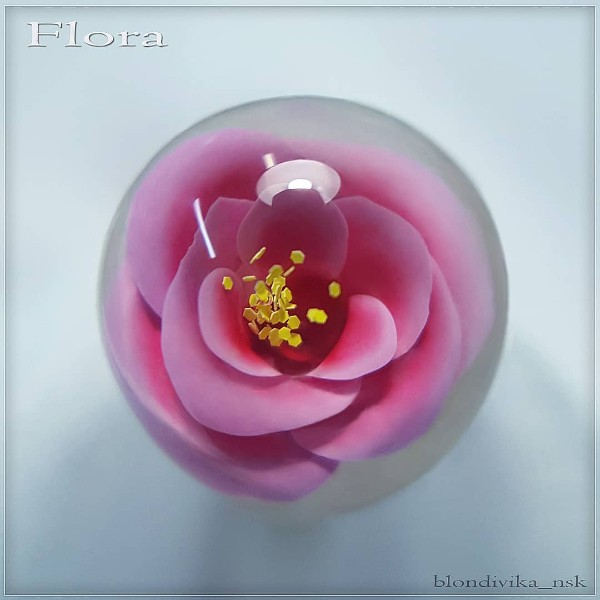 pink flower iceball