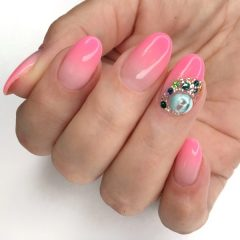 pink ombre nails with candy ball
