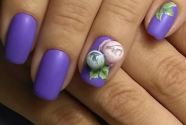 purple matte candy ball nail art
