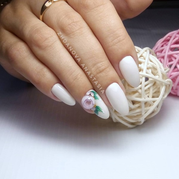 white candy ball nails