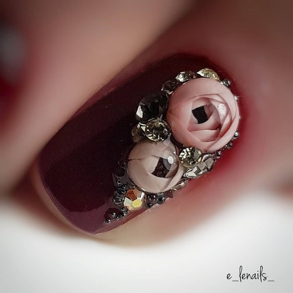 wine nail design with clear peony candy ball