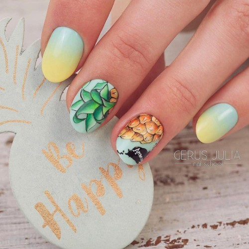 blue and yellow ombre nails with pineapple