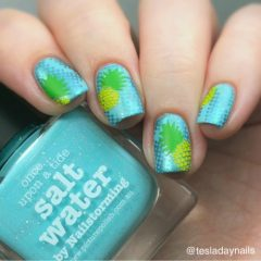 blue green and yellow pineapple nails