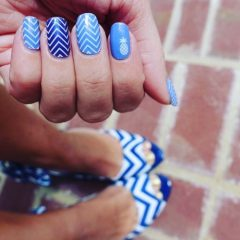 blue shevron nails with pineapples