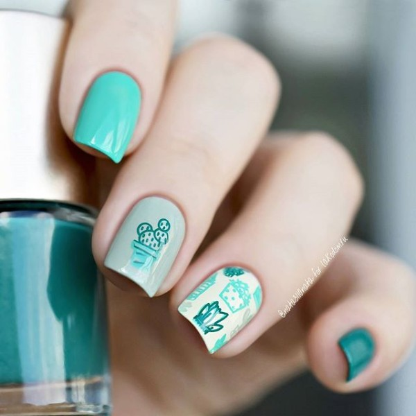 cactus-nail-design-for-summer