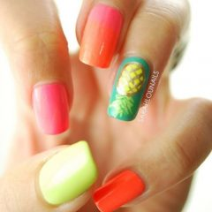 colorful nails with pineapples