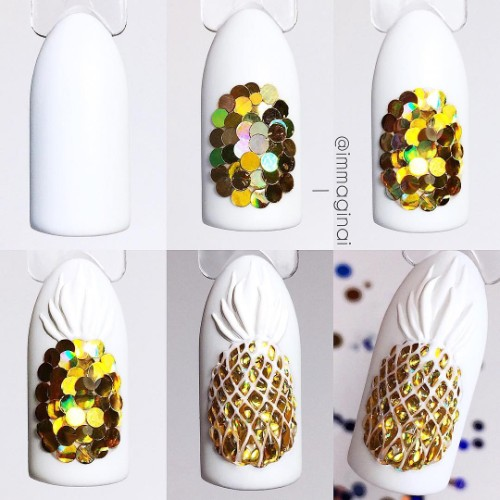 confetti pineapple nail design