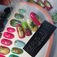 different variants of pineapple nail designs