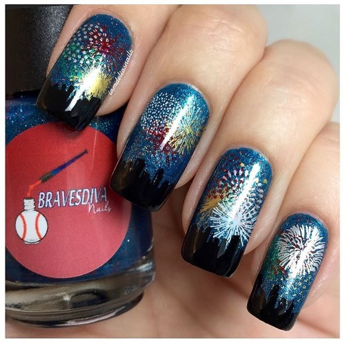 fireworks-independence-day nail-art