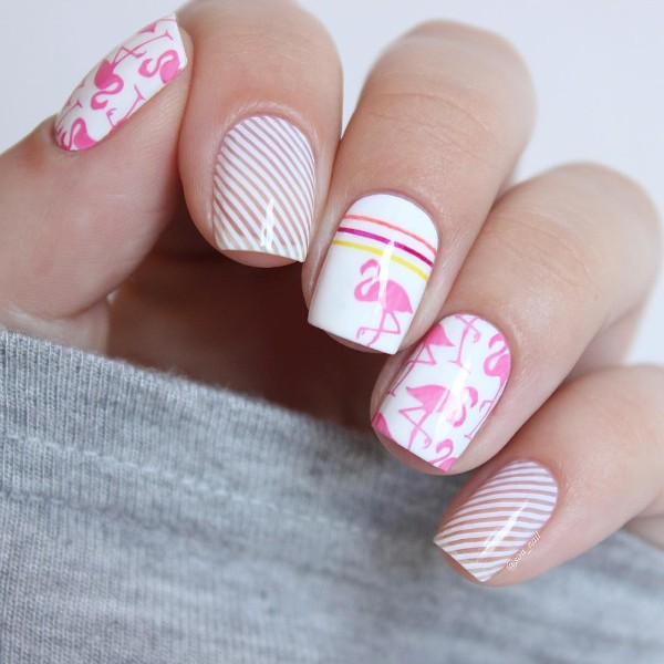 flamingo-nail-design-for-summer