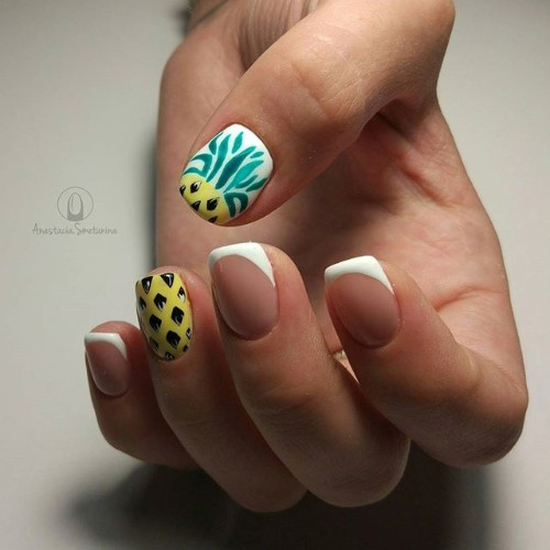 french nails with pineapple accent nail