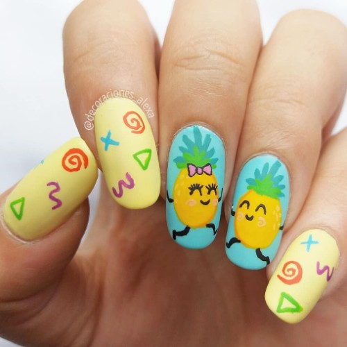funny pineapple nail art