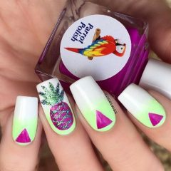 green to white ombre pineapple nails