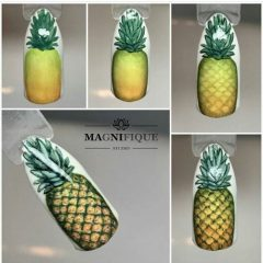 how to draw pineapple on nails